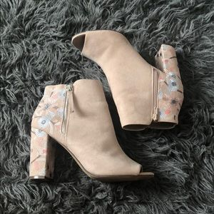 Nude Booties w/ Floral detail
